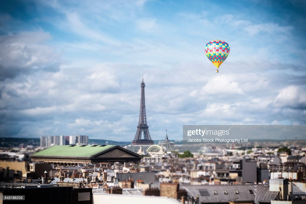 Hot Air Balloon Floating Over Cityscape Paris France Stock Photo ...