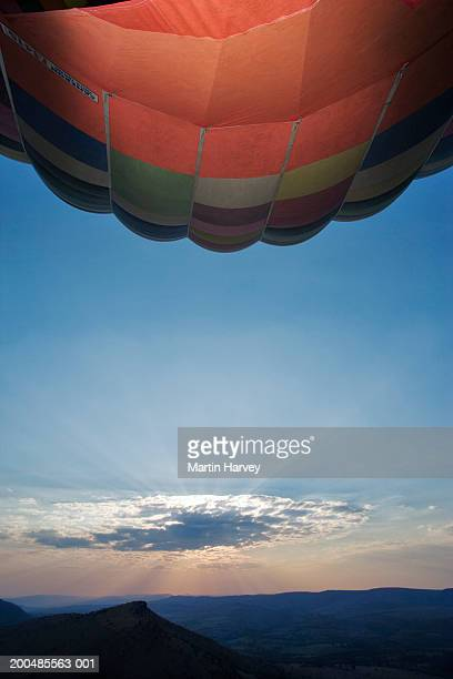 hot air balloon floating over landscape - gauteng province stock pictures, royalty-free photos & images