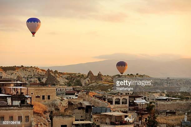 Hot air balloon flying in the morning at Cappadocia
