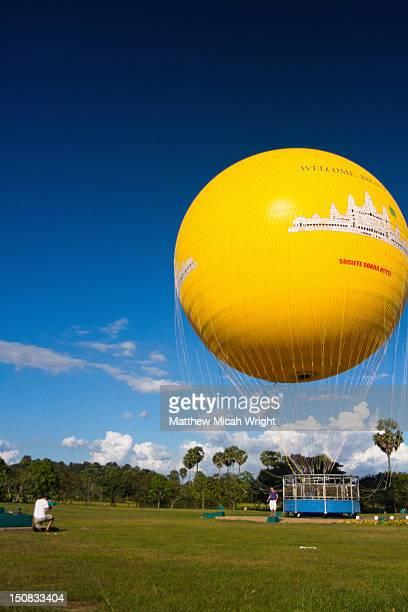 A hot air balloon for viewing Angkor Wat by air.