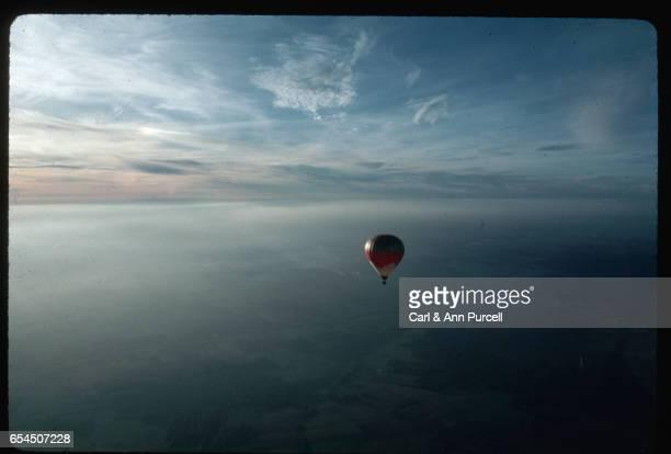 Hot Air Balloon High over Burgundy, France