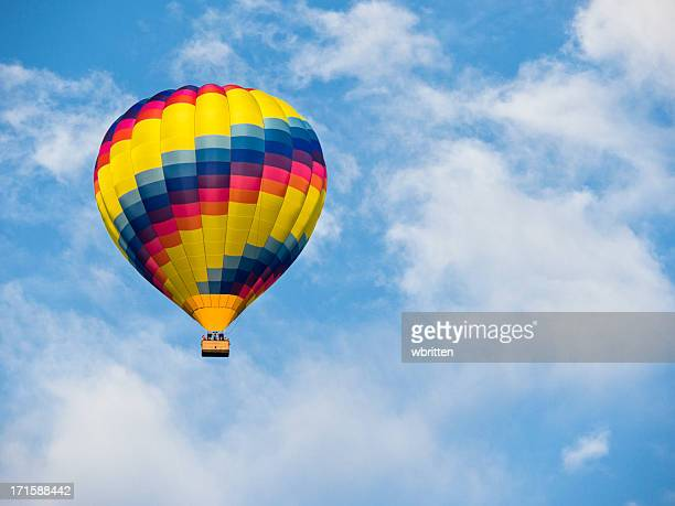 hot air balloon in a blue sky - asheville stock pictures, royalty-free photos & images