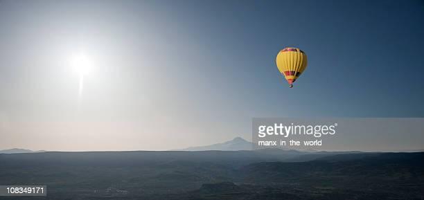Hot air Balloon in Anatolian Landscape, Sunrise.