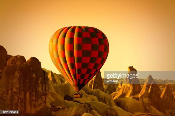 hot air balloon in cappadocia - balloon fiesta stock pictures, royalty-free photos & images