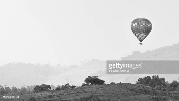 hot air balloon in rural landscape - crmacedonio stock photos and pictures