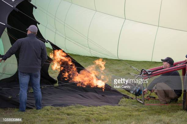 A hot air balloon is inflated at Longleat's Sky Safari at Longleat on September 15 2018 near Warminster in Wiltshire England According to the...