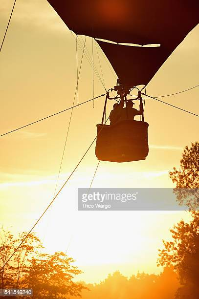 A hot air balloon is seen at sunset during the Firefly Music Festival on June 19 2016 in Dover Delaware