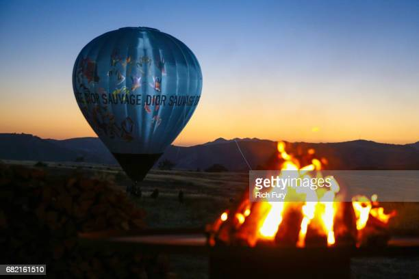 A hot air balloon is seen during the Christian Dior Cruise 2018 Runway Show at the Upper Las Virgenes Canyon Open Space Preserve on May 11 2017 in...