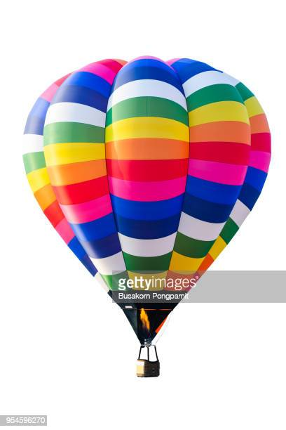 hot air balloon isolated on white background - balloon ride stock pictures, royalty-free photos & images