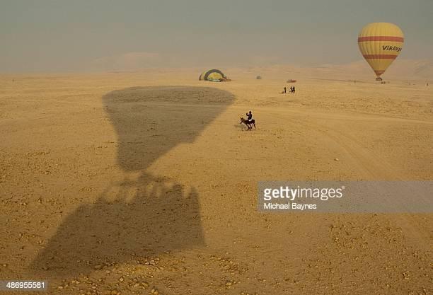 Hot air balloon landing in Luxor Egypt