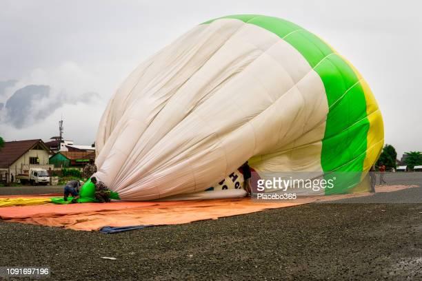 Hot air balloon landing, Vang Vieng, Laos