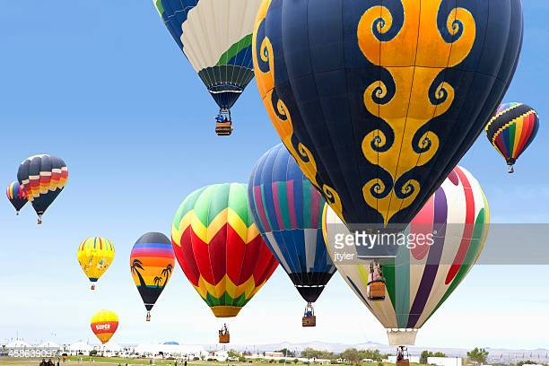 hot air balloon launch - sponsorship stock pictures, royalty-free photos & images
