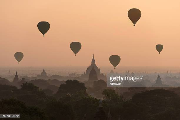 Hot air balloon over Bagan temples