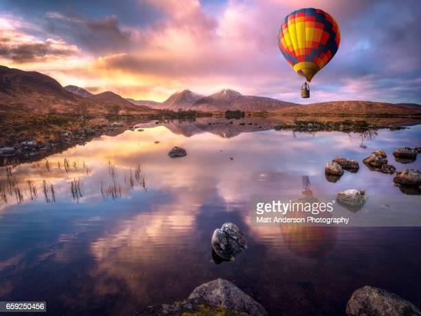 Hot Air Balloon Over Lochan na h-Achlaise
