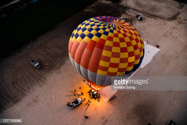 hot air balloon over nile river,egypt. - egypt stock pictures, royalty-free photos & images