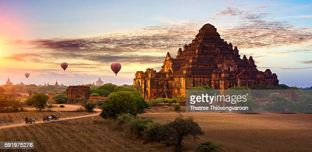 Hot air balloon over plain of Bagan in sunrise, Mandalay, Myanmar