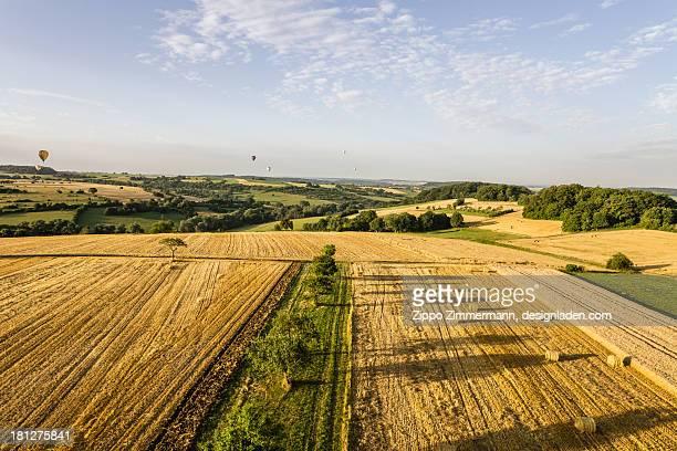 Hot air balloon over summer fields