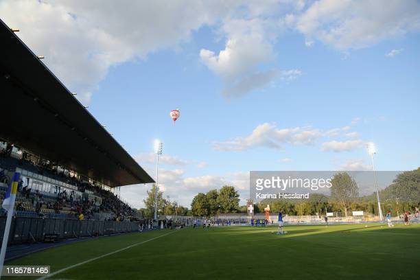 Hot air balloon over the stadium during the 3. Liga match between FC Carl Zeiss Jena and 1.FC Magdeburg at Ernst-Abbe Sportfeld on September 02, 2019...