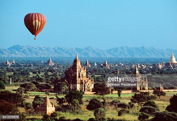 Hot air balloon over the valley of temples of Bagan