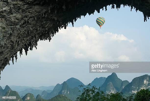 Hot air balloon ride over Karst mountains