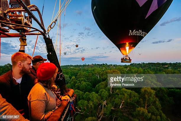 A Hot Air Balloon rises above Westerfolds Park