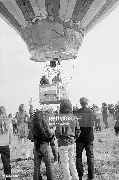 A hot air balloon sets off at the Altamont Speedway Free Festival in Northern California held on Saturday December 6 1969