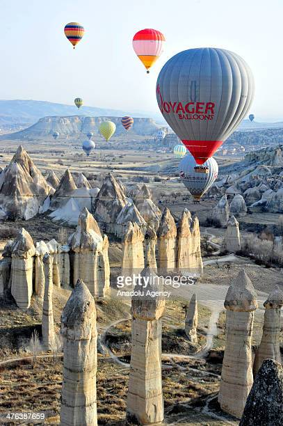 Hot air balloon tours become the symbol of Cappadocia in Nevsehir Turkey on February 23 2014 Cappadocia is a historical region in Central Anatolia...