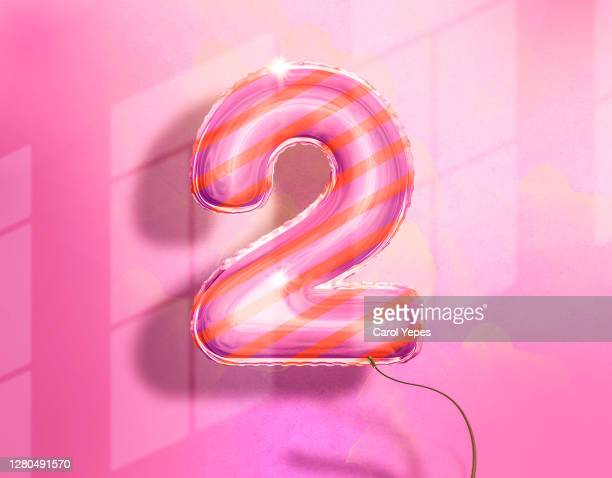 hot air balloon with number 2 in pink - number 2 stock pictures, royalty-free photos & images