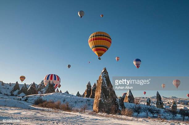 Hot Air Ballooning at winter,near Goreme,Cappadocia,Turkey