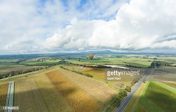Hot air ballooning over Australian vineyards