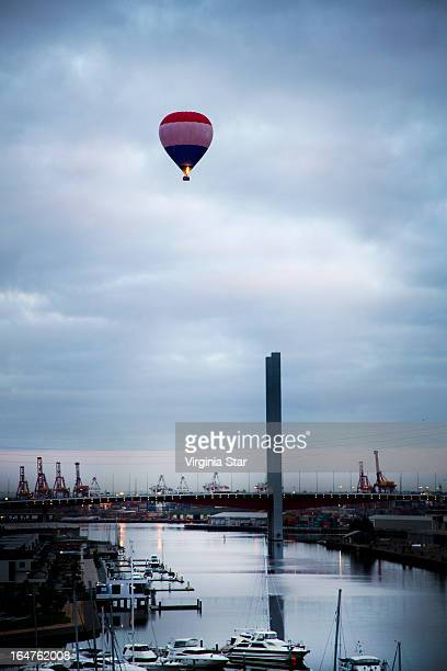 Hot air ballooning over the Yarra River Melbourne