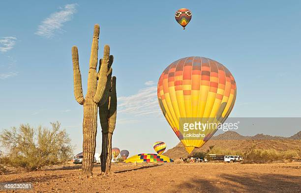 Hot Air Balloons and Saguaro Cacti in the Southwest Desert