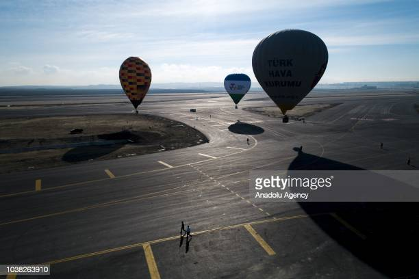 Hot air balloons are flied over Istanbul's new airport within the activities on 'Teknofest Istanbul' Aerospace and Technology Festival on September...