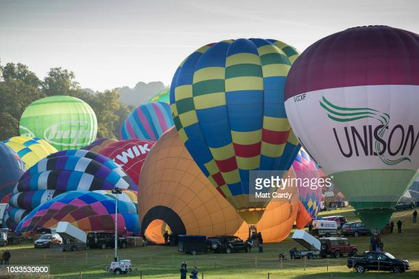 Hot air balloons are inflated at Longleat's Sky Safari at Longleat on September 15 2018 near Warminster in Wiltshire England According to the...