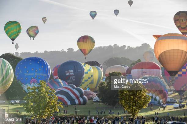 Hot air balloons are inflated at Longleat's Sky Safari early morning mass ascent at Longleat on September 15 2018 near Warminster in Wiltshire...