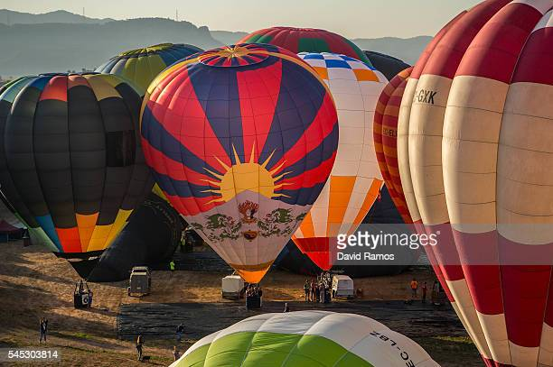 Hot air balloons are inflated at the European Balloon Festival on July 7 2016 in Igualada Spain Now in its 20th year the European Balloon Festival...