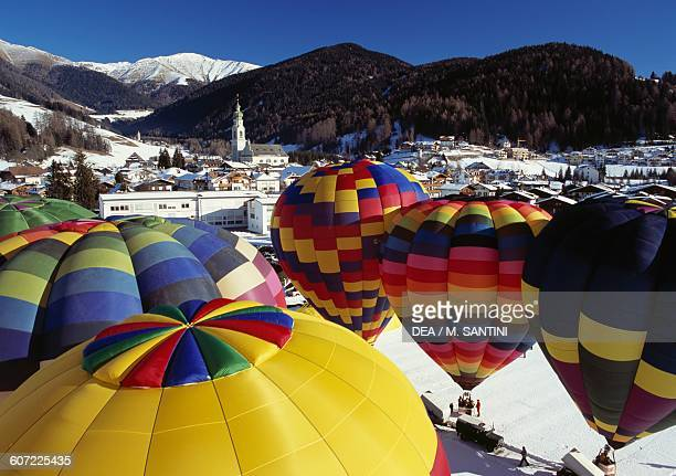 Hot air balloons at the Balloonfestival Toblach Pustertal TrentinoAlto Adige Italy