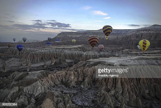 Hot air balloons fly over the famous volcanic rock formations as number of flight days decreased from 311 in 2014 to 266 in previous year in...