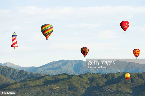 Hot air balloons fly over Wairarapa to launch the 2016 Wairarapa Balloon Festival on February 26 2016 in Carterton New Zealand The Festival runs...