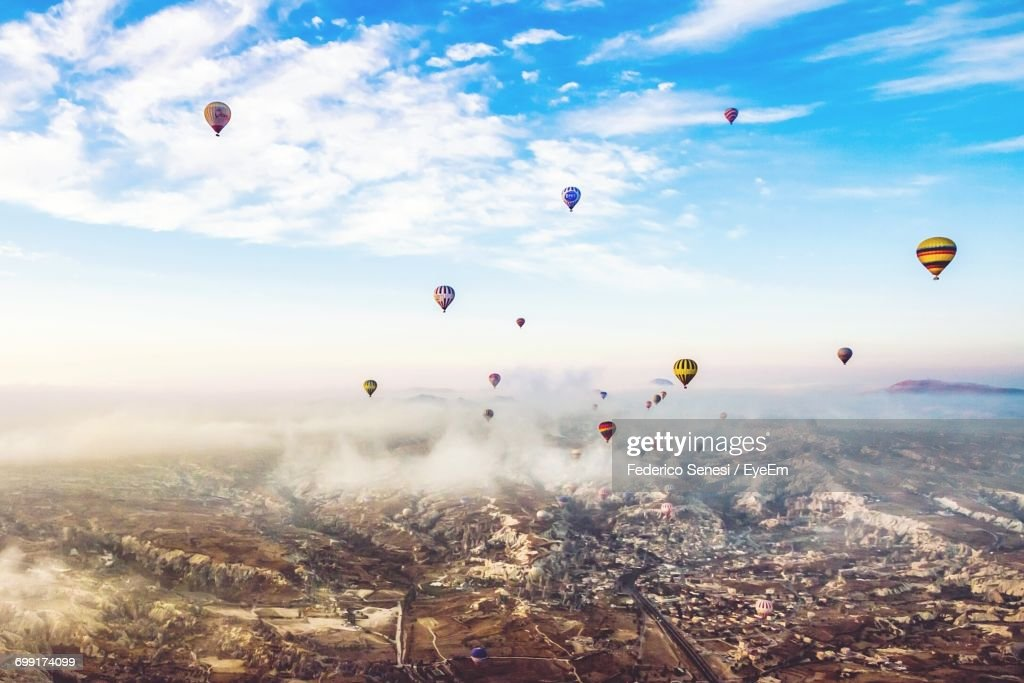 Hot Air Balloons Flying In Sky Stock Photo