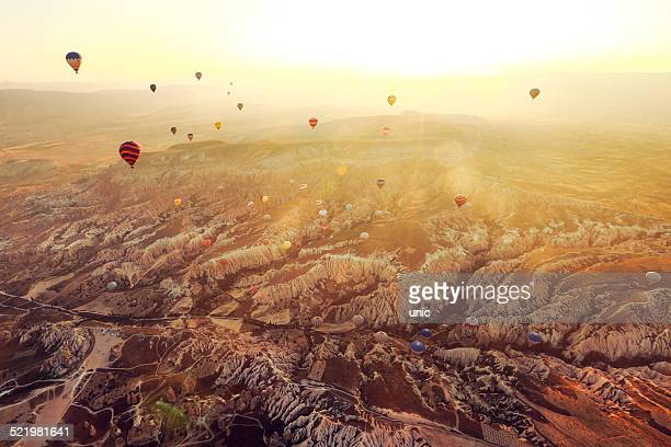 Hot air balloons flying over Cappadocia, Turkey