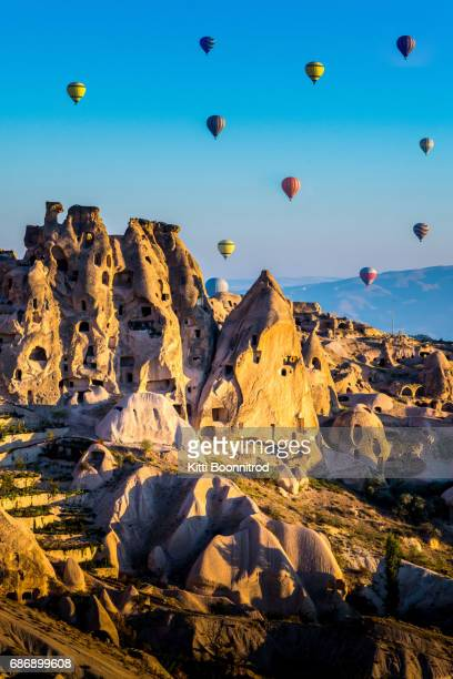 Hot air balloons flying over Pigeon valley, Turkey