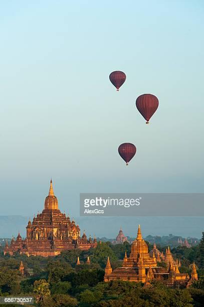 Hot air balloons flying over temples, Bagan, Mandalay, Myanmar