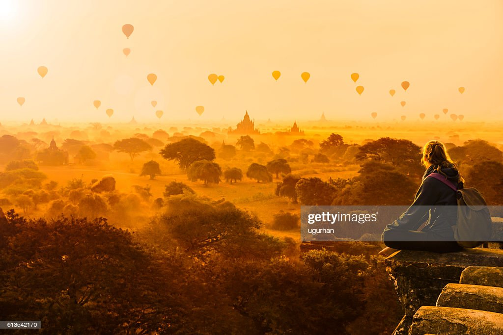 Hot air balloons in Bagan, Myanmar : Stock Photo