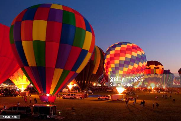 Hot air balloons in field