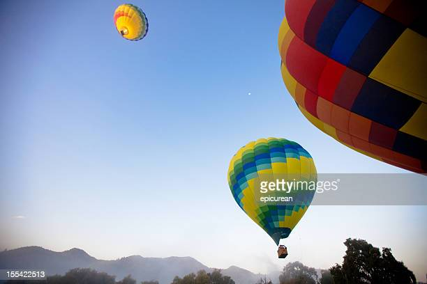 hot air balloons in napa valley california - napa valley stock pictures, royalty-free photos & images
