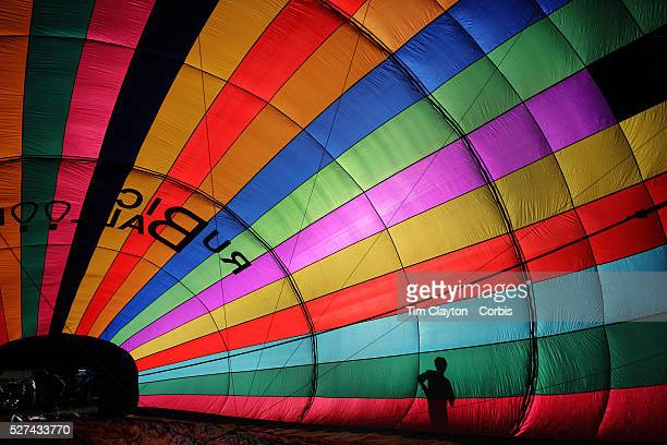 Hot Air balloons in the skies around rural Michigan near Battle Creek as they reach a target area during competition in the 20th FAI World Hot Air...