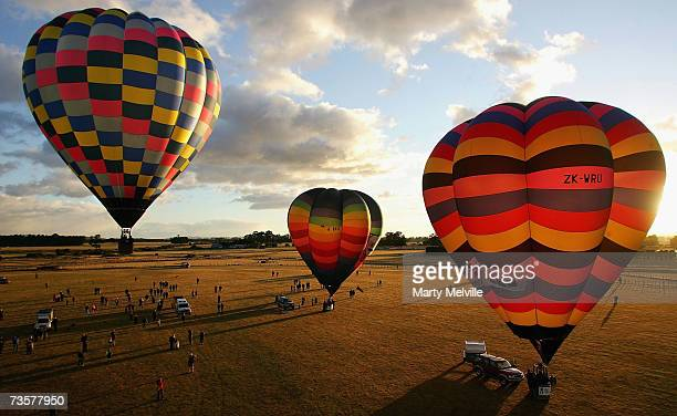 Hot Air Balloons lift off as part of the mass ascension during the Wairarapa International Hot Air Balloon Festival at Carterton March 15 2007 in the...
