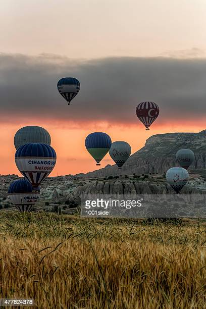 hot air balloons of cappadocia - rock hoodoo stock pictures, royalty-free photos & images