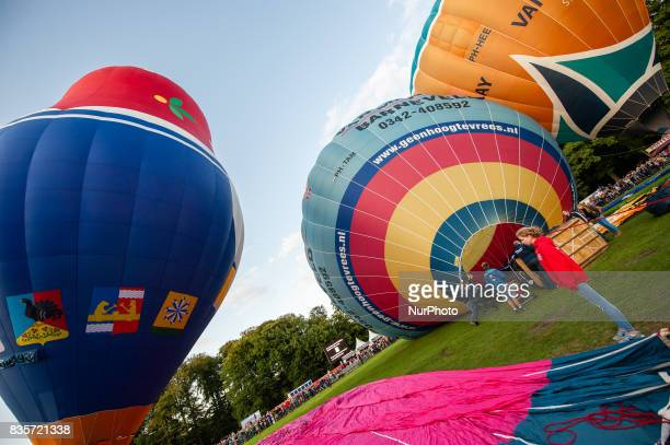 Hot air balloons of various shapes are seen during a Balloon Festival in Barneveld Netherlands on 19 August 2017 In the Dutch city of Barneveld a...